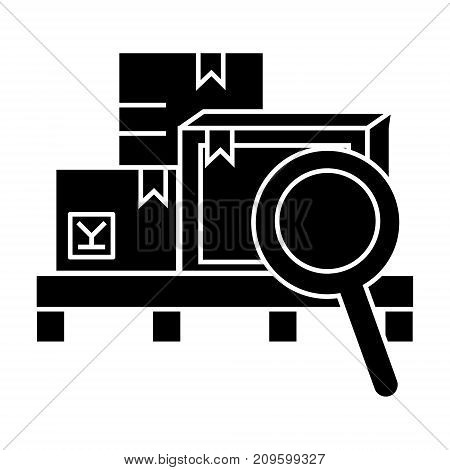 warehouse  icon, vector illustration, black sign on isolated background