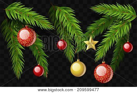 Christmas fir branches - set of modern vector realistic isolated elements on transparent background. Pine needle with decorations, balls, stars. Perfect for greeting cards, invitation, banner, flyer