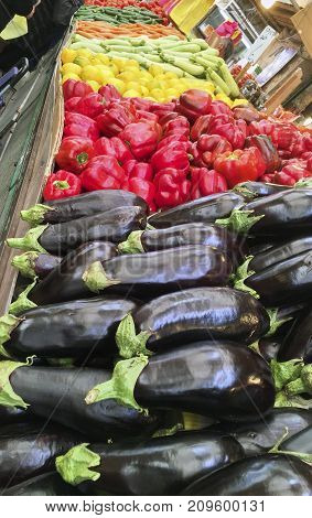 Crunchy vegetables such as aubergines red peppers yellow lemon orange carrots cucumbers and tomatoes in a weekly market in an Israeli village