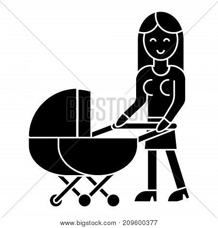 woman with baby stroller  icon, vector illustration, black sign on isolated background