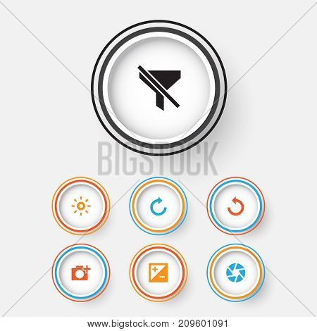 Photo Icons Set. Collection Of Mode, Photographing, Rotate Left And Other Elements
