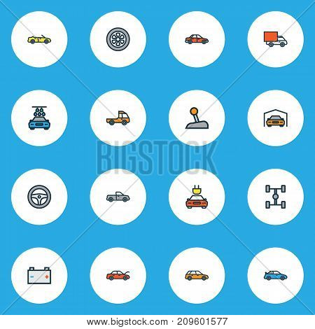 Auto Colorful Outline Icons Set. Collection Of Cabriolet, Electric, Washing And Other Elements