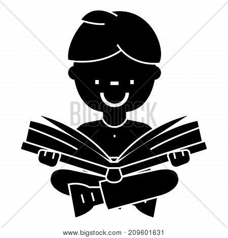 boy reading book, open book, sitting  icon, vector illustration, black sign on isolated background