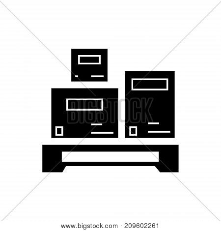 cargo measurement  icon, vector illustration, black sign on isolated background