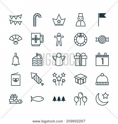 Holiday Icons Set. Collection Of Gift, Snow Person, Flag Point And Other Elements