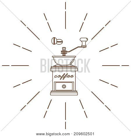Coffee grinder. Modern linear style. Vector illustration.