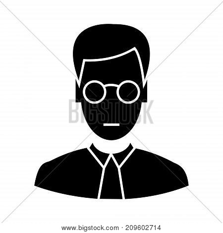 clerk with glasses  icon, vector illustration, black sign on isolated background