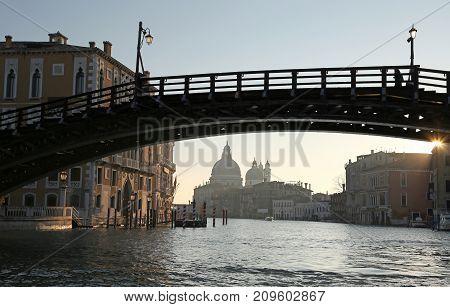 Ancient Wooden Bridge In Venice Italy Called Ponte Della Accadem