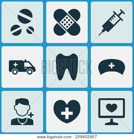 Drug Icons Set. Collection Of Claw, Bandage, Cap Elements