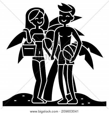 couple on beach, summer vacation, woman and man on beach  icon, vector illustration, black sign on isolated background