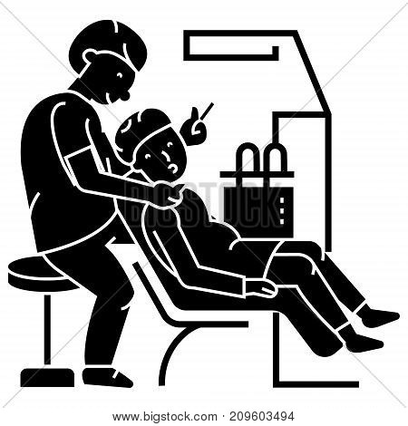 dentist working, patient, stomatology  icon, vector illustration, black sign on isolated background