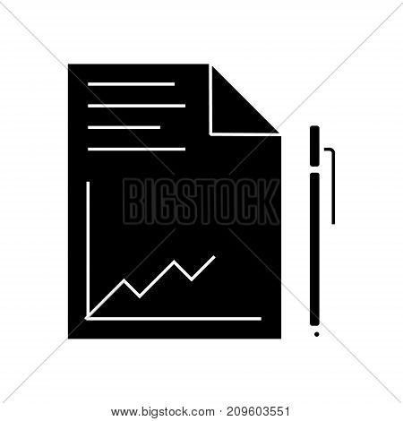 document report with graph and pen  icon, vector illustration, black sign on isolated background