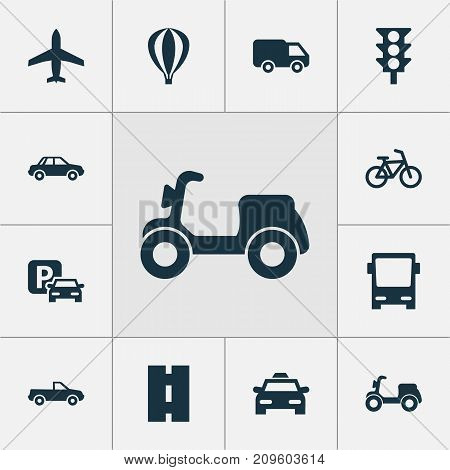 Transportation Icons Set. Collection Of Automobile, Airship, Skooter And Other Elements