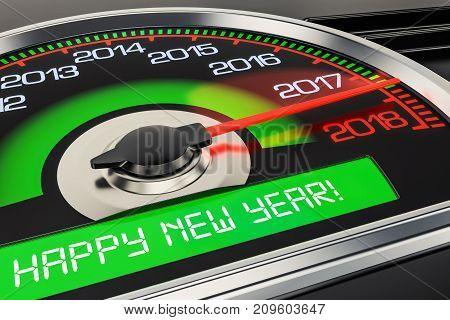 2018 Happy New Year speedometer concept 3D rendering