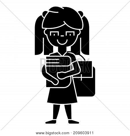 girl in school with book and backpack  icon, vector illustration, black sign on isolated background