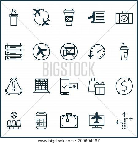 Airport Icons Set. Collection Of Takeaway Coffee, Plane Schedule, Calculation And Other Elements