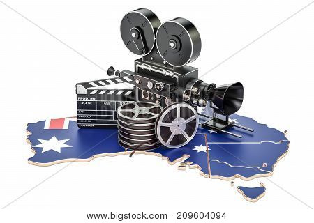 Australian cinematography film industry concept. 3D rendering isolated on white background