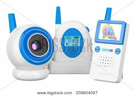 Baby cam and audio baby monitor 3D rendering isolated on white background