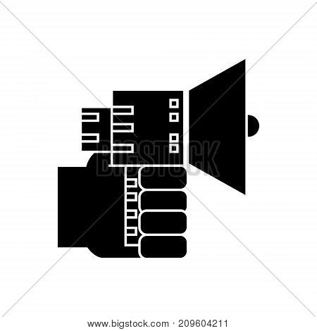 hand with loudspeaker  icon, vector illustration, black sign on isolated background