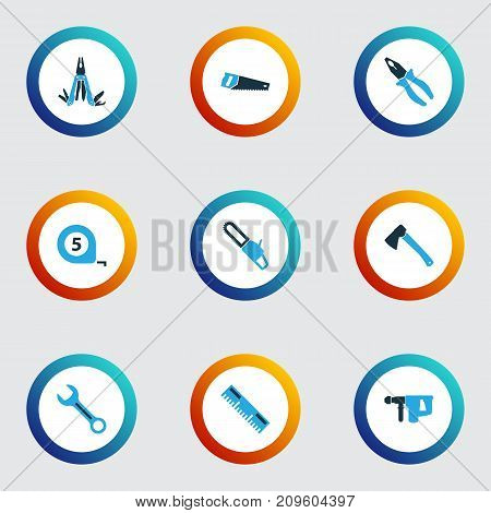 Tools Colorful Icons Set. Collection Of Spanner, Ruler, Multifunctional Pocket And Other Elements