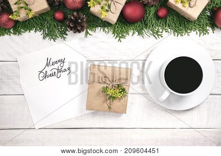 Christmas Border Of Tui And Ornament With Red Balls And Cones. Envelope With A Blank For A Holiday I