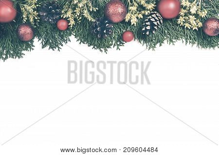 Christmas Background With Xmas Tree , Red Ornaments And On The White Wood. Magic Deer And Gift Wrapp