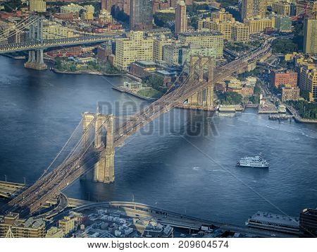 Aerial view of the bridges in NewYork (USA)