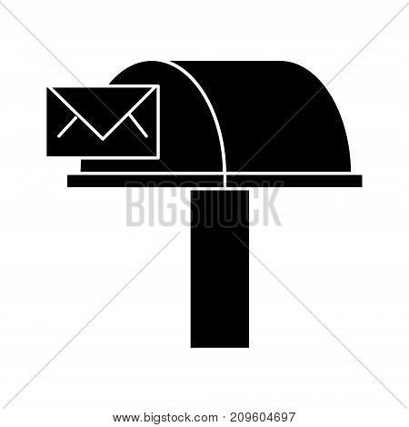 postbox, email delivery  icon, vector illustration, black sign on isolated background