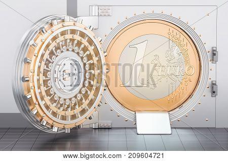 Open Bank Vault with Euro coin 3D rendering