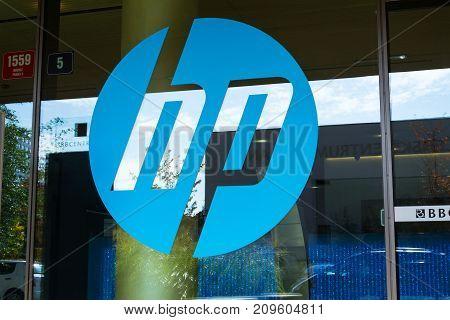 Prague, Czech Republic - October 14: The Hewlett-packard Company Logo On Headquarters Building On Oc