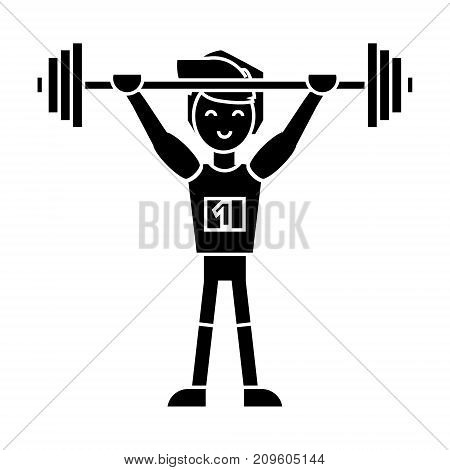 strong athlete with weights barbell, weightlifting  icon, vector illustration, black sign on isolated background
