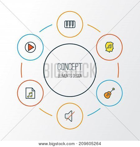 Multimedia Colorful Outline Icons Set. Collection Of Mute, Strings, Lover And Other Elements
