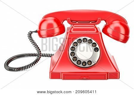 Red vintage phone 3D rendering isolated on white background