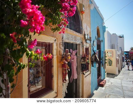 Streets With Store In Santorini Island.