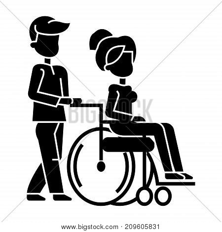 young man strolling with woman in wheelchair, nursing care for disabled people  icon, vector illustration, black sign on isolated background