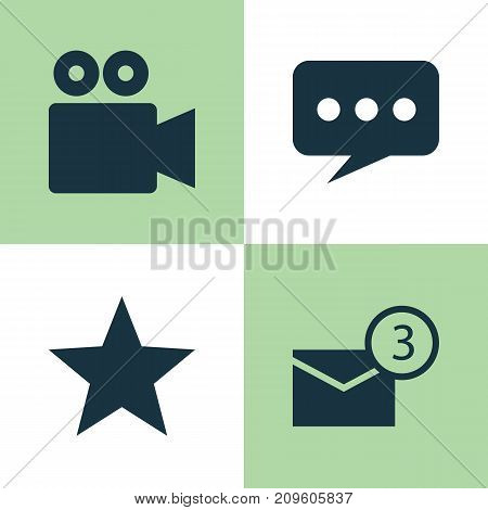 Social Icons Set. Collection Of Camcorder, Inbox, Star And Other Elements