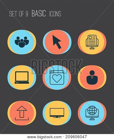 Internet Icons Set. Collection Of Team, Mouse, Global And Other Elements