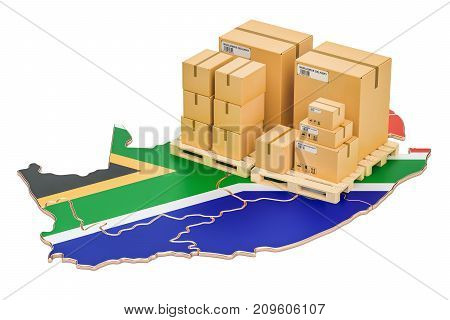 Shipping and Delivery from South Africa isolated on white background