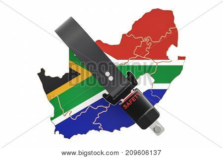 South Africa map with safety belt. Security and protect or insurance concept 3D rendering