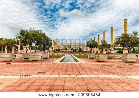 Architecture Of The Olympic Park Of Montjuic, Barcelona, Catalonia, Spain