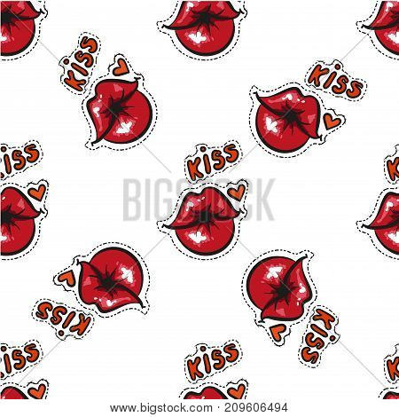 Sexy female red lips seamless pattern. Red lips pattern. Comic pattern. Vector stock.
