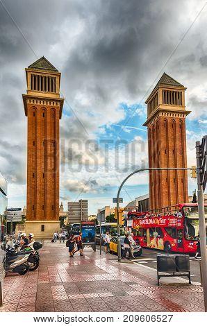 Venetian Towers, Iconic Landmarks In Barcelona, Catalonia, Spain