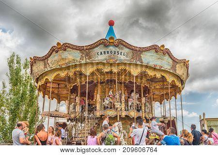 Old Vintage Carousel At Tibidabo Amusement Park, Barcelona, Catalonia, Spain