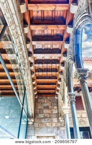 Wooden Beams In Museu Picasso Cloister, Barcelona, Catalonia, Spain