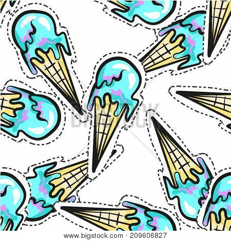 Ice cream vector seamless pattern stock art