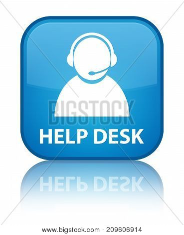 Help Desk (customer Care Icon) Special Cyan Blue Square Button