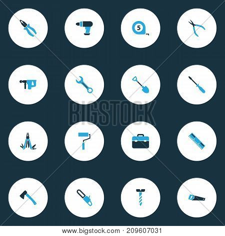 Tools Colorful Icons Set. Collection Of Multifunctional Pocket, Axe, Digging And Other Elements