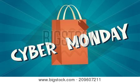 Cyber Monday Background With Shopping Bag, Online Sale Deals Design Holiday Discount Concept Vector Illustration