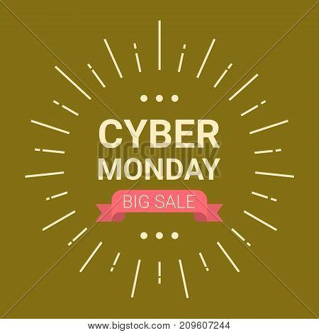 Cyber Monday Logo Design Big Sale Event Flyer, Online Shopping Deals Concept Vector Illustration