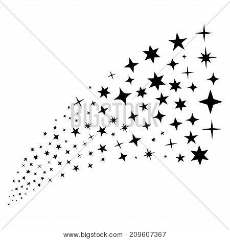 Stream of confetti stars icons. Vector illustration style is flat black iconic confetti stars symbols on a white background. Object fountain made from design elements.